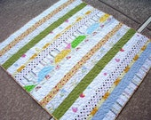 Picnic Playtime Quilt in a Bag, Made with Vintage Sheets, Nap Quilt, Lap Quilt, Recycled, Upcycled, Repurposed, Reclaimed, Made in America