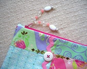 Aqua Sundrop Zippy, Fabric Lined Zipper Bag, Makeup Bag, Small Zipper Pouch, Small Purse, Clutch, Pink & Aqua, Made in America, CLEARANCE
