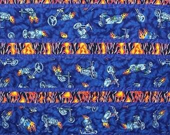 SALE - Motorcycle Theme Handmade Lap Quilt, Nap Quilt, I Love Motorcycles, Blue Quilt, Guy Quilt