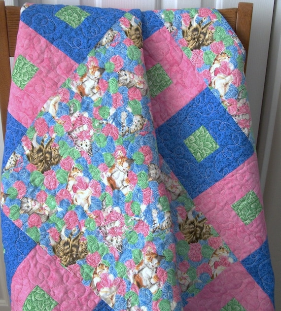 Baby Quilt With Flannel Back Crib Size Kittens By