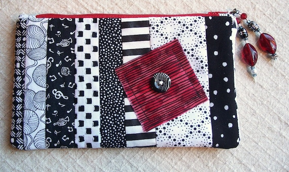 Red Square Zippy - Lined Zipper Bag