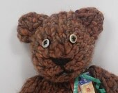 Jeremy the pure wool eco friendly teddy bear with clay eyes