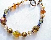 Sparkling Gold Crystal Bracelet, Stone Bracelet, Antiqued Copper Bracelet, Gift For Her On SALE, Ready to Ship