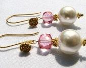 Pink Topaz Earrings, White Pearl Earrings, 24k Gold Vermeil Rose Earrings, Luxe Topaz Earrings, Holiday Gift For Her on SALE