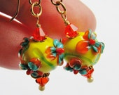 FREE SHIPPING, Sunflower Lampwork Earrings, Orange Teal Yellow Raised Glass Beads, Swarovski Crystals, 14k Gold Filled, Handmade Gift