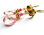Pink Quartz Drop Earrings, Pink Sapphire Earrings, Fancy Gold Vermeil Flower Earrings, Luxury Holiday Gift For Her, On SALE, Ready To Ship