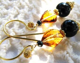 SALE, Luxury Madeira Citrine Earrings, Natural Stone Earrings, Black Onyx Earrings, Fancy Gold Vermeil Earrings, Gift For Her