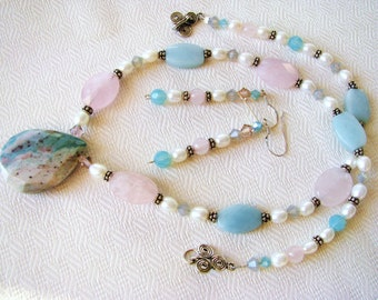 Unique India Agate Pendant Necklace & Earrings, Natural Gemstones, Ivory Aqua Pink, Sterling Silver, Handmade Gift Set, Ready To Ship
