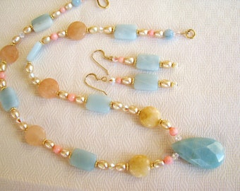 ON SALE 20% OFF, Classic Amazonite Pendant Necklace & Earrings, Multi-Gemstone Aqua Yellow Peach, Pearls, Coral, Crystals, 14k Gold Filled