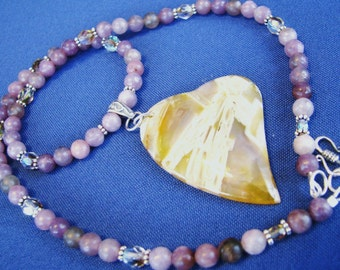Bamboo Agate Heart Pendant, Necklace & Earrings, Natural Purple Stone, Sterling Silver Necklace, Valentines Gift Set For Her, Ready To Ship