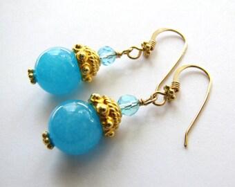 SALE, Beautiful Turquoise Jade Earrings, Gemstone Earrings, Aqua Crystals, Ornate Gold Vermeil Earrings, Gold Filled Earrings, Ready To Ship