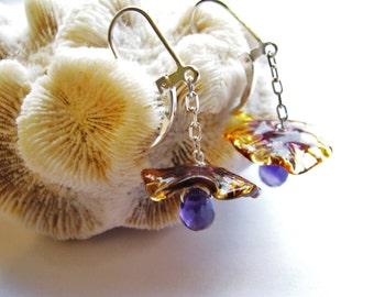 20% OFF SALE, Fairy Flower Earrings Style, Handcrafted Amethyst Teardrops, Amber Purple Lampwork, Sterling Silver Earrings, Gift For Her