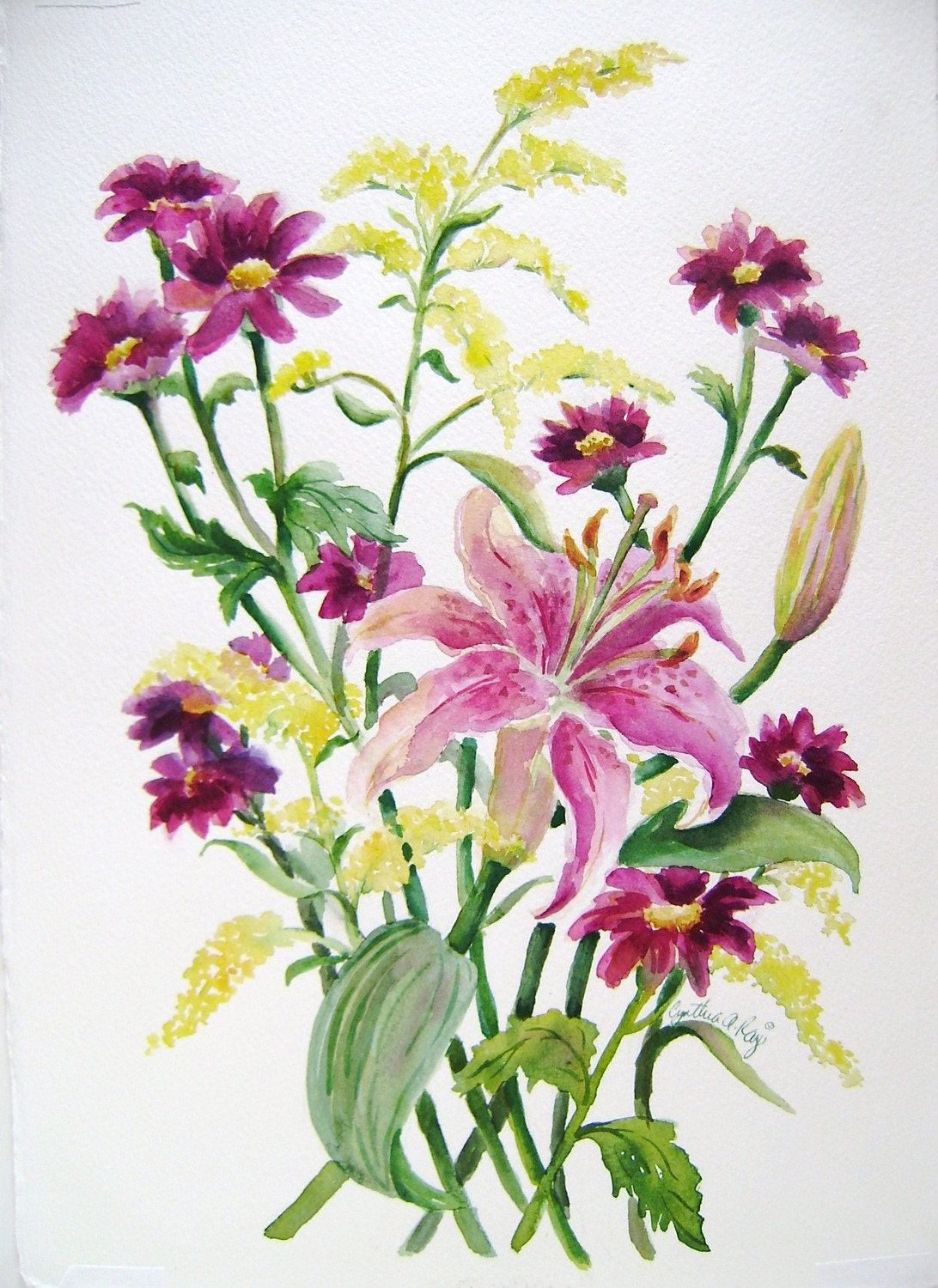 Rubrum Lily Flower Bouquet Original Watercolor Painting
