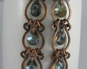 Bronze Crystal and Hammered Copper Links Earrings