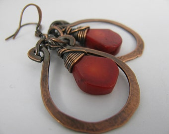 Wire Wrapped Coral with Hammered Copper Horseshoes