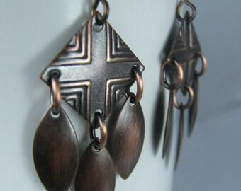 Antique Copper Diamonds with Antique Copper Marquise Drops