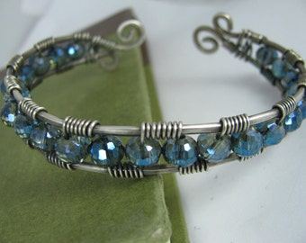 Blue Crystal and Silver Wire Wrapped Cuff Bracelet