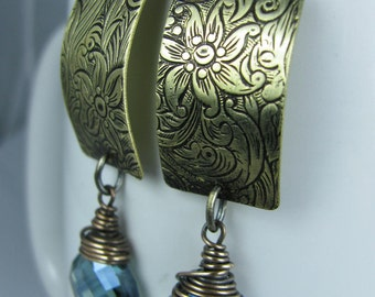 Floral Antique Brass Rectangles with Bronze Wire Wrapped Blue Crystal Briolettes
