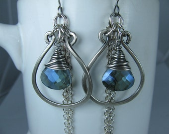 Silver Hoops with Wire Wrapped Blue Crystals and Chain Tassels