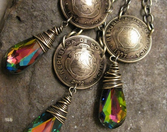Domed Brass Costa Rican Coin Necklace with Wire Wrapped Emerald Rainbow Swarovski Crystals