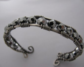 Silver Crystal and Silver Wire Wrapped Cuff Bracelet