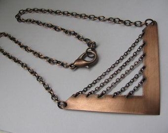 Copper Chevron and Chain Necklace