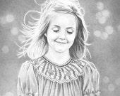 Custom pencil portrait from photo - One subject, 11x14