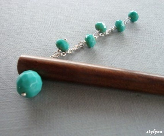 Tiffany . Blue Glass Dangle Hairstick with FREE SHIPPING