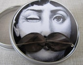 MOVEMBER MUSTACHE ME smokey quartz and silver necklace 25 percent of proceeds donated to the cause