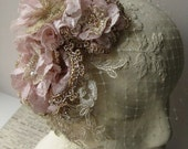Romantic Rose and Champagne Designer Bridal Headdress with Veil