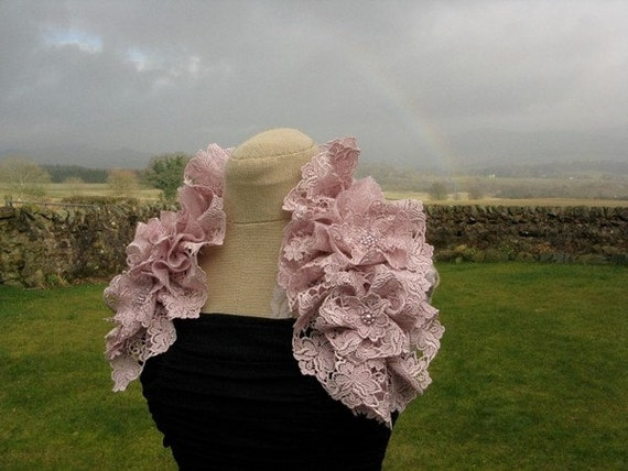 SALE - Vintage Inspired Lilac Rose Lace Ruffled Neckpiece - Bridal or Occasionwear
