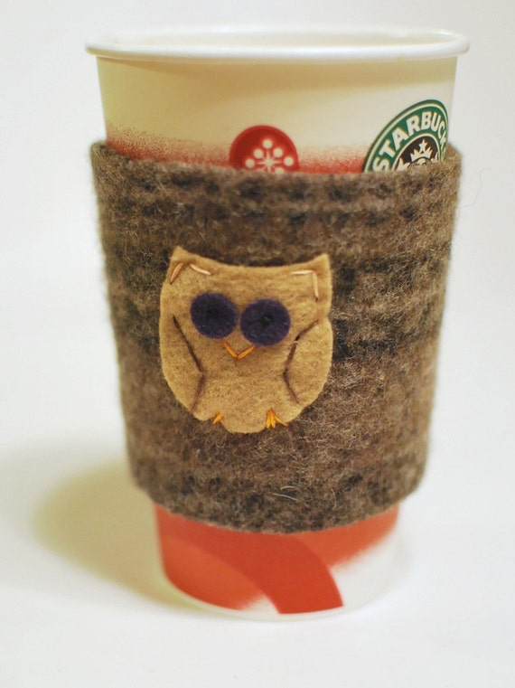 Upcycled Coffee Cozy- Felted Wool Sweater Sleeve- Owl