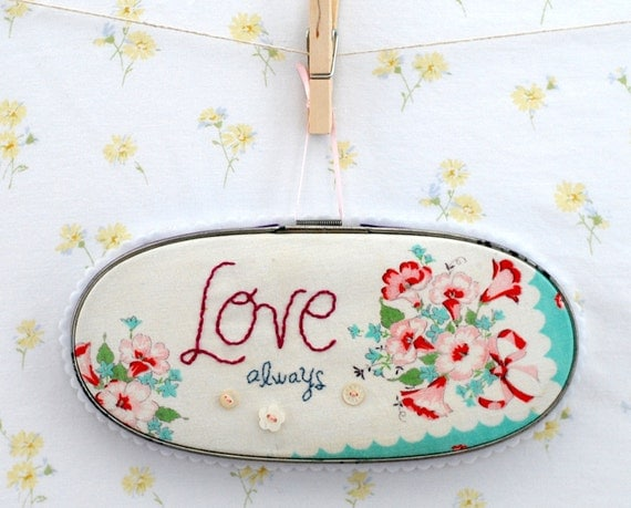 embroidered vintage hankie wall art