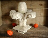 French 1800s Architectural Salvage Carved Marble Fleur-de-lis Garden Finial Fragment RESERVED for Christina