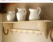 Sale Large Dish Wall Rack Distressed Chippy White Paint Shabby Cottage Chic