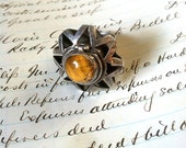 SALE Vintage Taxco Mexican Silver Tiger Eye Artisan Crafted  Pill Ring, Adjustable Size Large