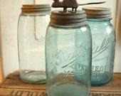 Salvage Antique Zinc Lid Blown Glass Masons PATENT Canning Jars Retro Blue