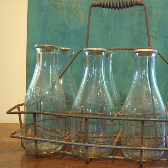 items similar to retro antique milk bottle metal basket. Black Bedroom Furniture Sets. Home Design Ideas