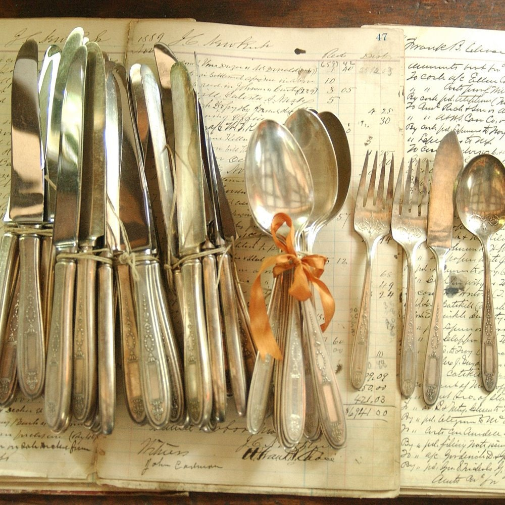 Vintage silver plate flatware 37 piece matching set collection - Funky flatware sets ...