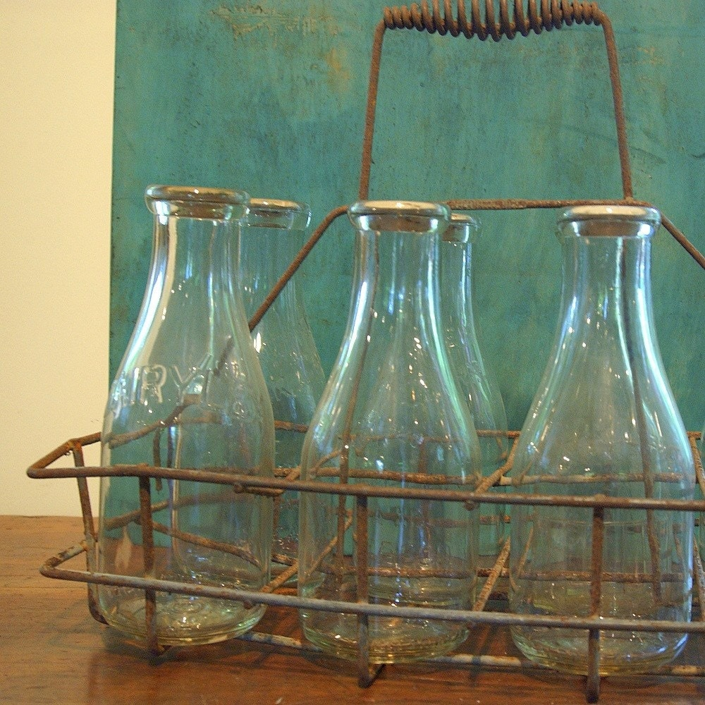 Antique Bottle Display: Retro Antique Milk Bottle Metal Basket By CountryAnthropology