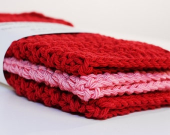 The Cupid's Arrow Dishcloth Collection- Red and Pink