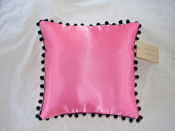 Satin Throw Pillow in Hot Pink with Black Ball Fringe