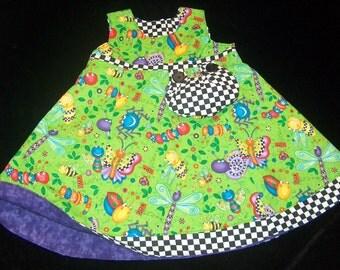Reversible Bug Dress 5-8 years//butterfly dress//dragonflies dress//bugs frock//reversible dress//reversible frocks//5 Years//6 Years//7 yr