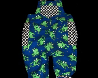 Reversible Froggie Long Overall  size newborn to 3 years