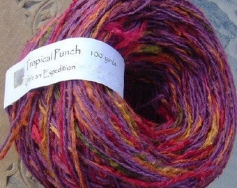 DK Yarn: Tropical Punch cotton silk light worsted 200 yards, 2 skeins Life's an Expedition red purple pink magenta olive green apricot