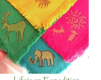 Napkins Set of 4 hand-painted prehistoric cave drawing dinner cotton napkins, dining serving multicolor, green teal pink yellow archaeology