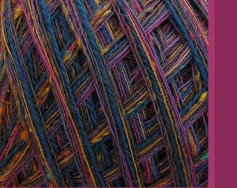 Yarn worsted Grapevine purple wool blend yarn 100 yards, blue magenta pink gold green, Life's an Expedition knitting crochet fiber art yarn