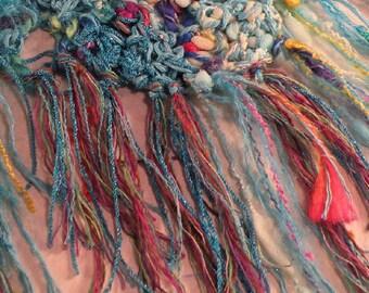 Crochet scarf, women's knit Mardi Gras multicolor bohemian fashion shawl wrap, freeform fiber art purple blue pink teal wool cotton i562