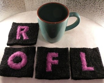 Coasters spell ROFL, gift for tech IT geek internet computer office co-worker, felted wool dining college dorm kitchen Mother's Day birthday
