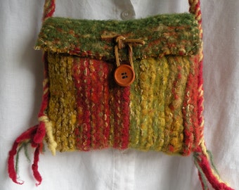 Felted shoulder bag purse handbag iPhone Bohemian bag, hand spun wool primitive rustic tribal spicy green gold red pouch hand knit i696
